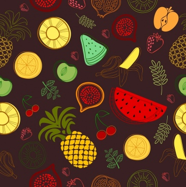 fruits background dark colored flat hand drawn sketch