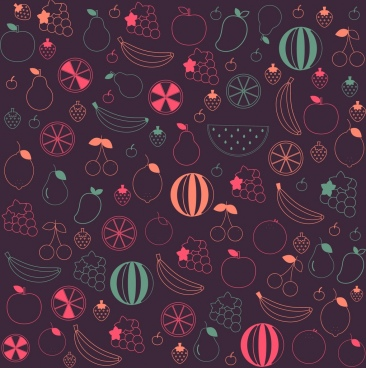fruits background dark silhouette design various flat icons