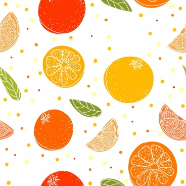 fruits background orange icons decor multicolored sketch