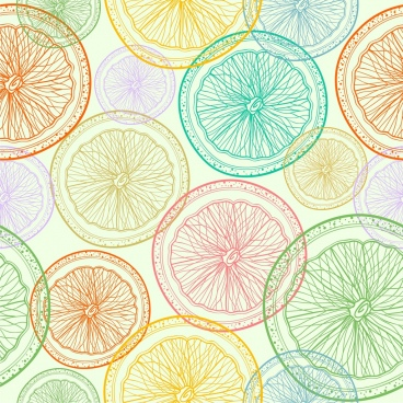fruits background orange slices icons colored repeating handdrawn