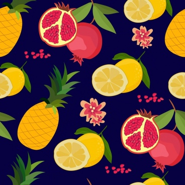 fruits background pomegranate lemon pineapple icons repeating design