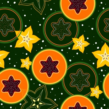 fruits background repeating design papaya carabola slices icons