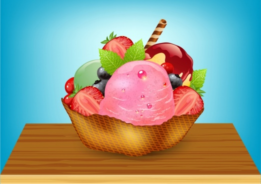 fruits ice cream background 3d colored decoration