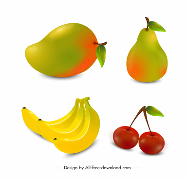 fruits icons colorful modern 3d design