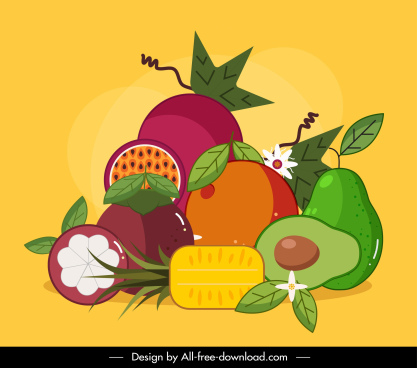 fruits painting colorful classical flat design