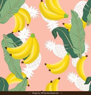 fruits pattern banana pineapple leaves decor colorful classic