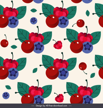 fruits pattern cheery berry sketch colorful repeating design