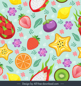 fruits pattern colorful flat classic decor