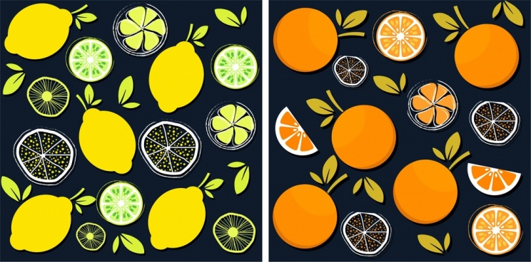 fruits pattern sets lemon orange icons flat design