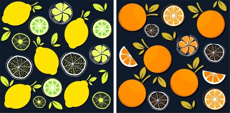 fruits pattern sets lemon orange icons flat design