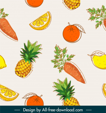 fruits pattern template colored flat classic handdrawn design