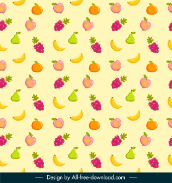 fruits pattern template colorful flat repeating design