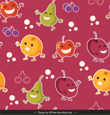 fruits pattern template cute stylized design colorful flat