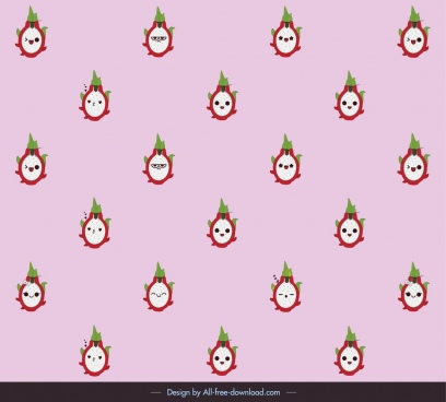 fruits pattern template repeating design funny stylized faces