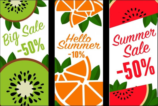fruits sales banners kiwi orange water melon icons