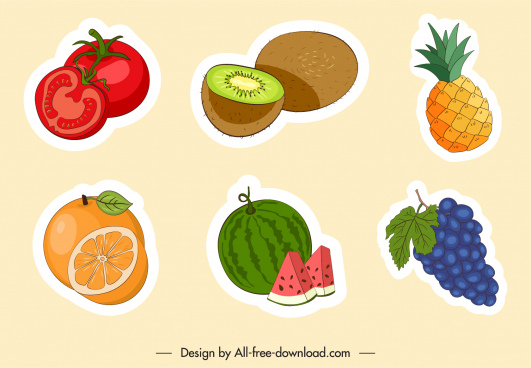 fruits stickers colorful flat classic handdrawn