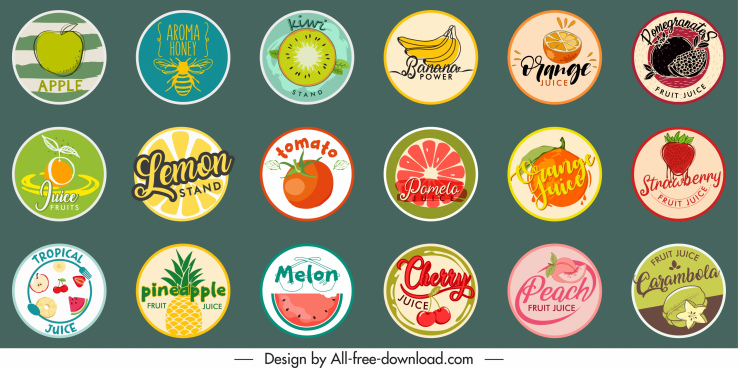 fruits stickers templates collection flat classical design