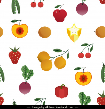 fruits vegetables pattern bright colorful decor