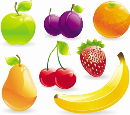 fruits icons collection shiny multicolored 3d design