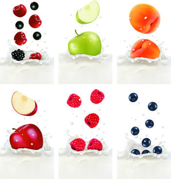 fruits with milk vertical banner vector set