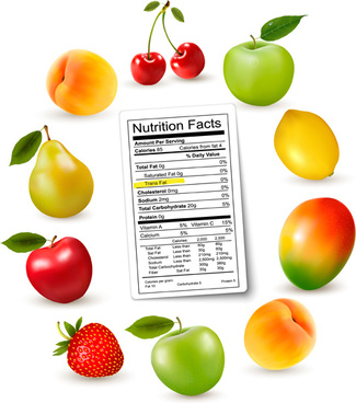 fruits with nutrition facts vector