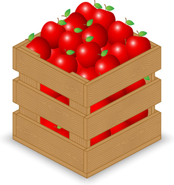fruits with wooden crate vector graphics