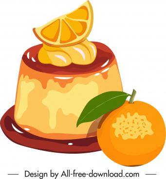 fruity cream dessert icon colorful classic design