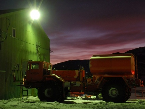 fuel truck at dusk
