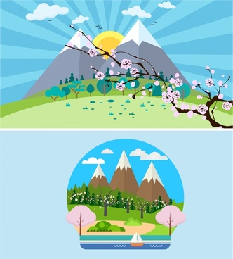 fuji mountain landscapes vector illustration with spring