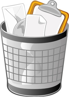 Full Office Trash Can clip art