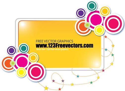 banner design colorful circles rectangular and stars decoration