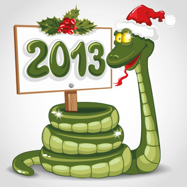 funny13 snake greeting card vector set