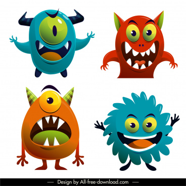 funny alien monster icons colorful cartoon characters sketch