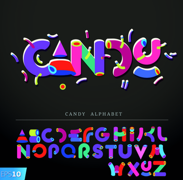 funny alphabet with creative font design vector