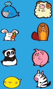 funny animals cartoon design vectors