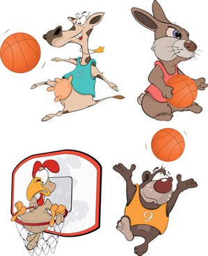 funny animals with basketball vector