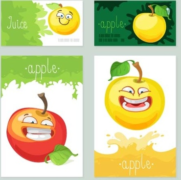 funny apple cards vector