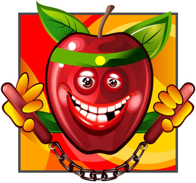 funny apple elements vector