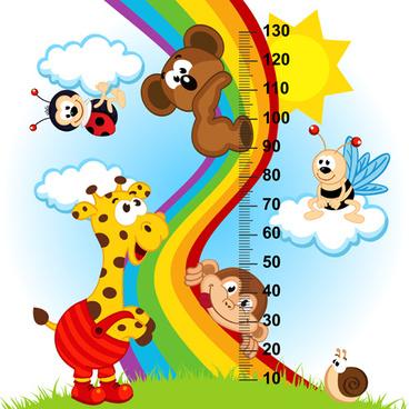 funny baby height measure cartoon vector