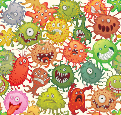 funny bacteria cartoon styles vector
