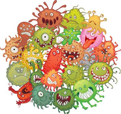 funny bacteria cartoon styles vector