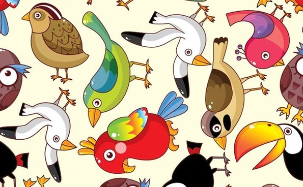 birds icons pattern colorful cartoon flat design