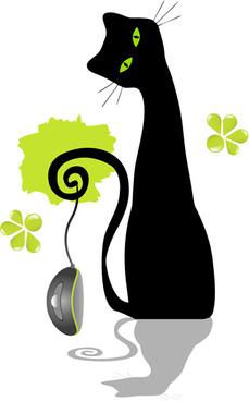 funny black cat design vector