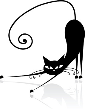 funny black cat design vector