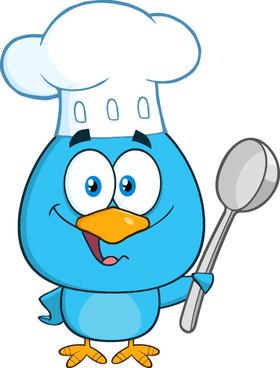 funny blue bird cartoon vector set