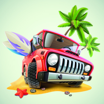 funny car with travel elements vector