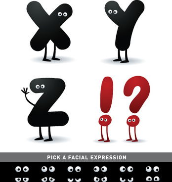 funny cartoon alphabet design vector