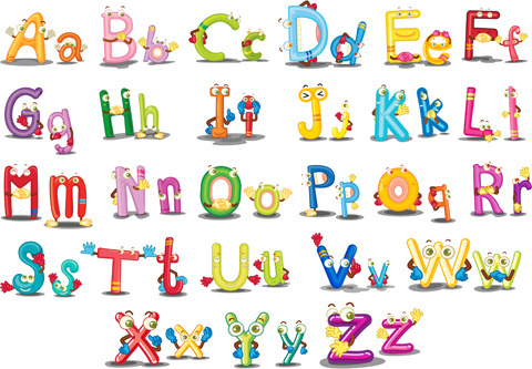 funny cartoon alphabet vector graphics