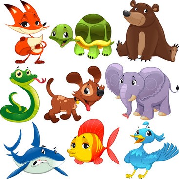 funny cartoon animal and fish with bird vector