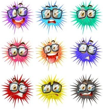 funny cartoon bacteria and virus vector